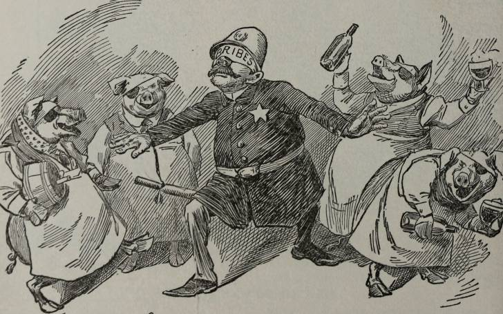 A figure of a blind policeman chased by pigs.